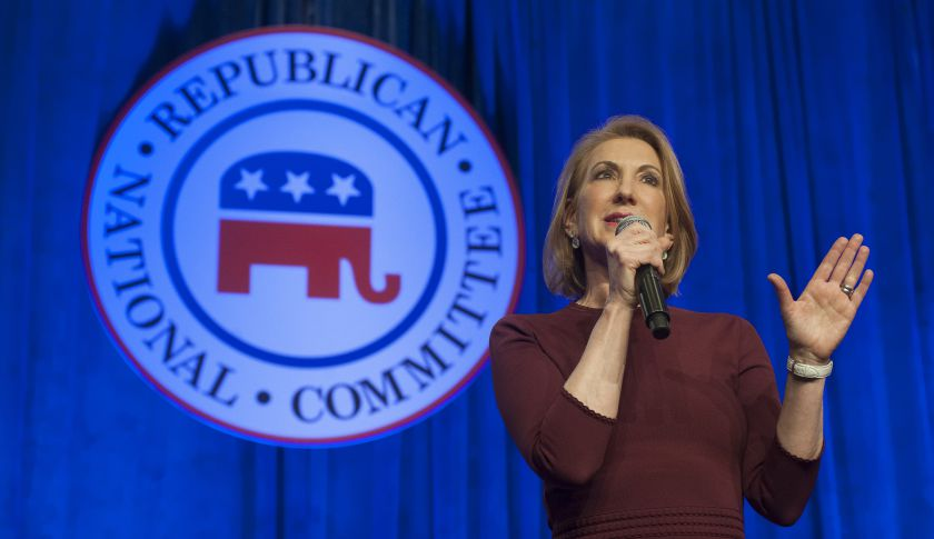 SCOTTSDALE, AZ - MAY 13:  Republican presidential candidate Carly Fiorina speaks during the welcome reception at the Republican National Committee Spring meeting May 13, 2015 at The Phoenician in Scottsdale, Arizona. Fiorina, a former CEO of Hewlett-Packard, is seeking the Republican nomination for the 2016 presidential race. (Photo by Laura Segall/Getty Images)