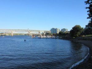 The view of the Williamette river from Downtown Portland